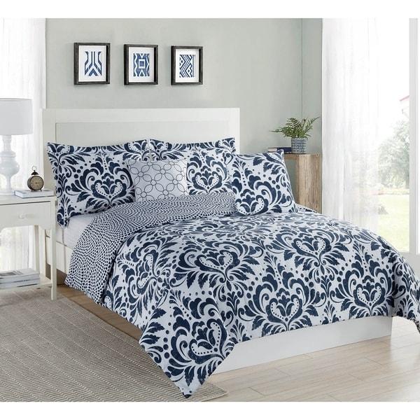 Studio 17 Anson Comforter Set - navy/white