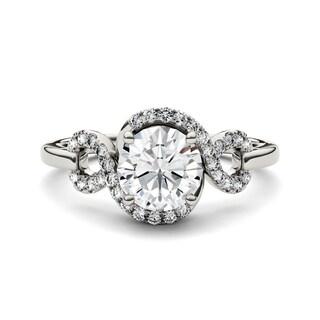 Charles & Colvard 14k White Gold 1 1/2ct DEW Forever Brilliant Round Moissanite Halo Swirl Ring