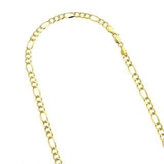 Luxurman 14k White or Yellow Solid Gold 4mm Classic Figaro Diamond-cut Chain Necklace or Bracelet with Lobster Claw Clasp