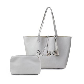 Olivia Miller 'Sorry' Grey Perforated Tote Bag with Accessories Bag