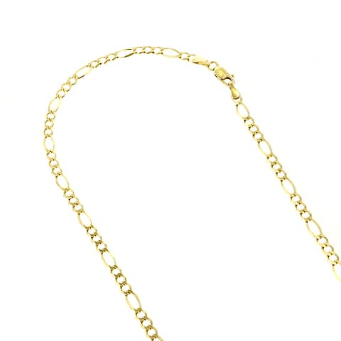 Luxurman 14k Solid Gold 3mm Classic Figaro Diamond-cut Chain Necklace Lobster Clasp