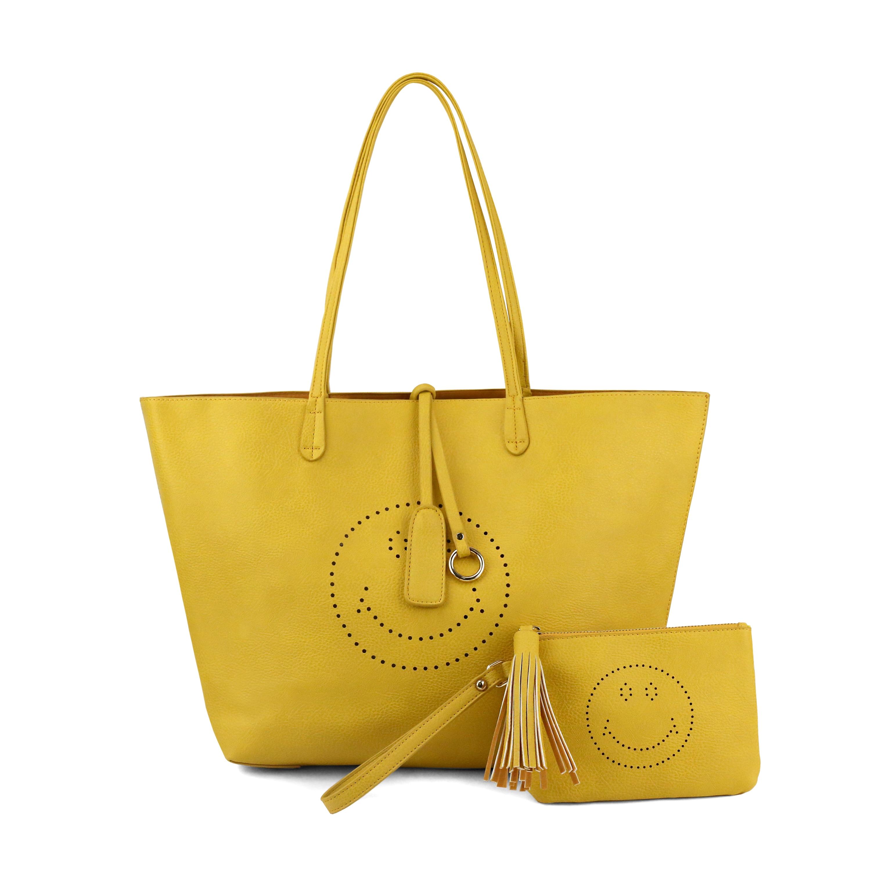 Olivia Miller Farrah Smiley Emoji Perforated Tote Bag And Wristlet