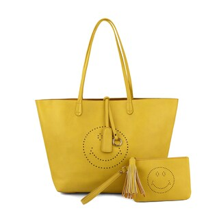 Olivia Miller Farrah Smiley Emoji Perforated Tote Bag and Wristlet