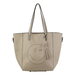 Olivia Miller 'Norah' Beige Perforated Wink Emoji Tote Bag