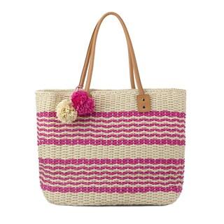 Olivia Miller Poppy Striped Multicolored Straw Tote Bag