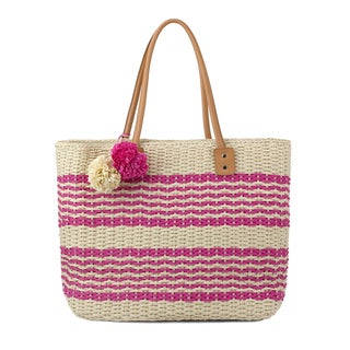 Olivia Miller Poppy Striped Multicolored Straw Tote Bag