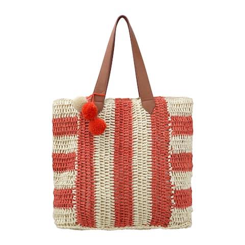 Olivia Miller 'Pippy' Multicolor Striped Straw Tote Bag
