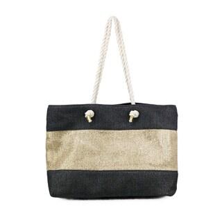Olivia Miller McKenna Black and Gold-tone Metallic Stripe Tote Bag