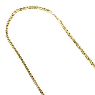 IcedTime 14k Yellow Gold 3mm Square Franco Chain Necklace Lobster Clasp