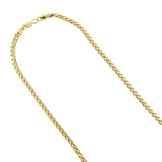 Luxurman 14k Yellow Gold 4mm Franco Chain Diamond-cut Necklace with Lobster Claw Clasp