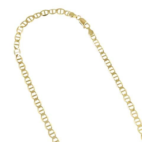Luxurman 10k Yellow Gold 4.5mm Solid Flat Mariner Chain Necklace Lobster Clasp