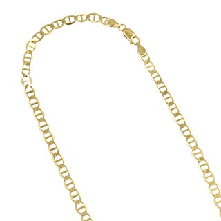 Luxurman 10k Yellow Gold 4.5mm Solid Flat Mariner Chain Necklace or Bracelet with Lobster Claw Clasp