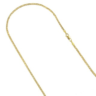 Luxurman 14k Yellow Gold 1.7mm Solid Flat Mariner Chain Necklace or Anklet with Lobster Claw Clasp