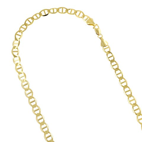 Luxurman 10k Yellow Gold 5.5mm Solid Flat Mariner Chain Necklace Lobster Clasp