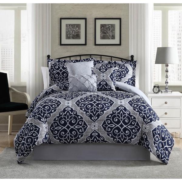 Studio 17 Camille 7-Piece Comforter Set - navy/grey