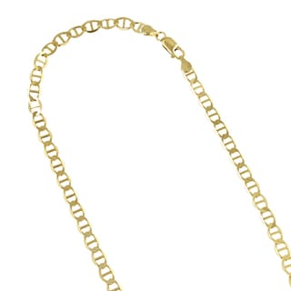 Luxurman 10k Yellow Gold 3mm Solid Flat Mariner Chain Necklace or Bracelet or Anklet with Lobster Clasp