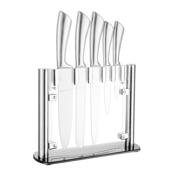 Cheer Collection 6pc Stainless Steel Kitchen Knife Set with Acrylic Stand. Opens flyout.
