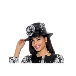 Giovanna Collection Women's Brocade Flower-trimmed Hat