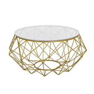 Diamond Goldtone Metal Coffee Table