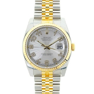 Pre-owned Rolex Mid 2000's Model 116233 Men's Datejust Two-tone Silver Concentric Dial Watch