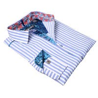 Lennon and McCartney Men's Blue and White Cotton 'I'm Happy Just To Dance' Shirt
