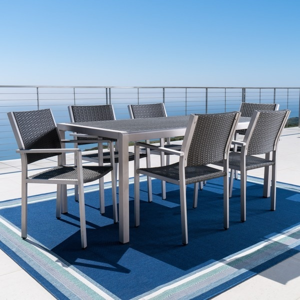 Cape Coral Outdoor Rectangle Aluminum 7-piece Dining Set with Wicker Top by Christopher Knight Home. Opens flyout.