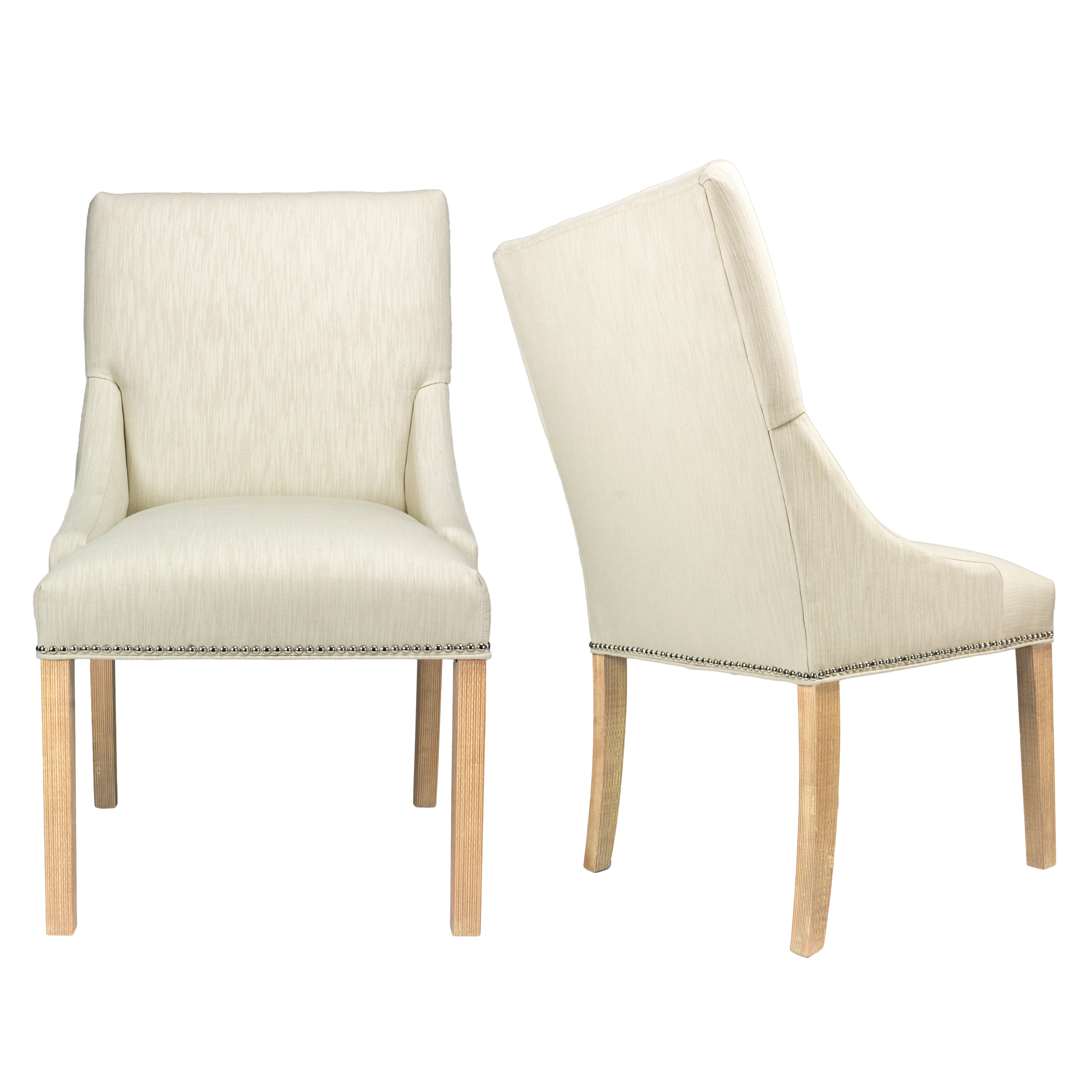 Phenomenal Marie Off White Upholstered Dining Chairs With Wood Legs Set Of 2 Ncnpc Chair Design For Home Ncnpcorg