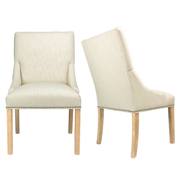 Marie Off White Upholstered Dining Chairs With Wood Legs Set Of 2 Overstock 14694423