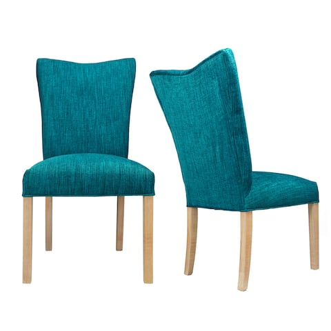 ITALIA Lucky TURQUOISE Spring Seating Double Dow Upholstered Dining Chairs with WHITE WASH legs (Set of 2)