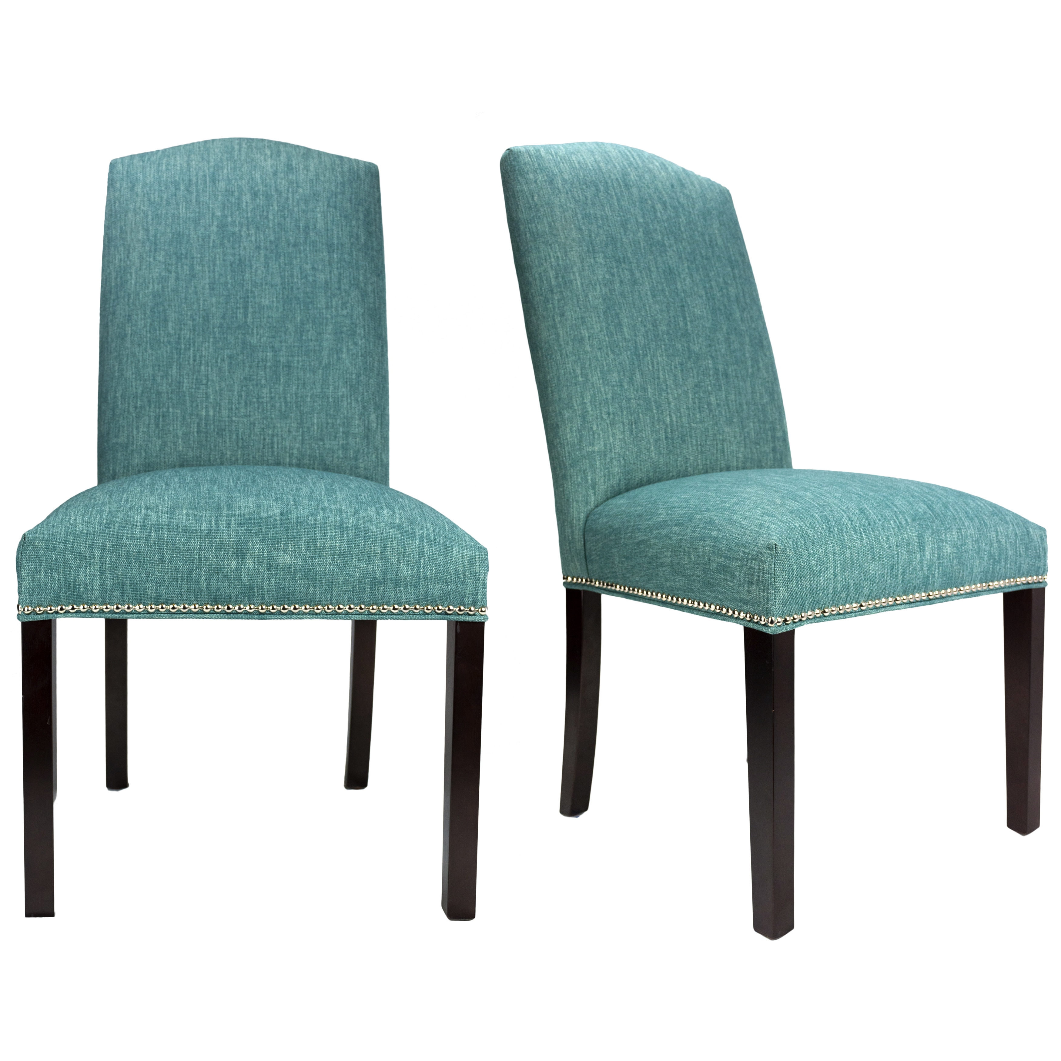 Details About Key Largo Espresso Legs Nailhead Trim Upholstered Dining Chairs Set Of 2 21