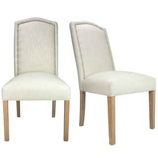 Vaughn Nailhead Trim White Upholstered Dining Chairs (Set of 2)