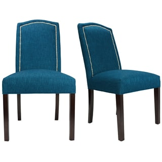Key Largo Zenith Nailhead Trim Espresso Legs Upholstered Dining Chairs (Set of 2)