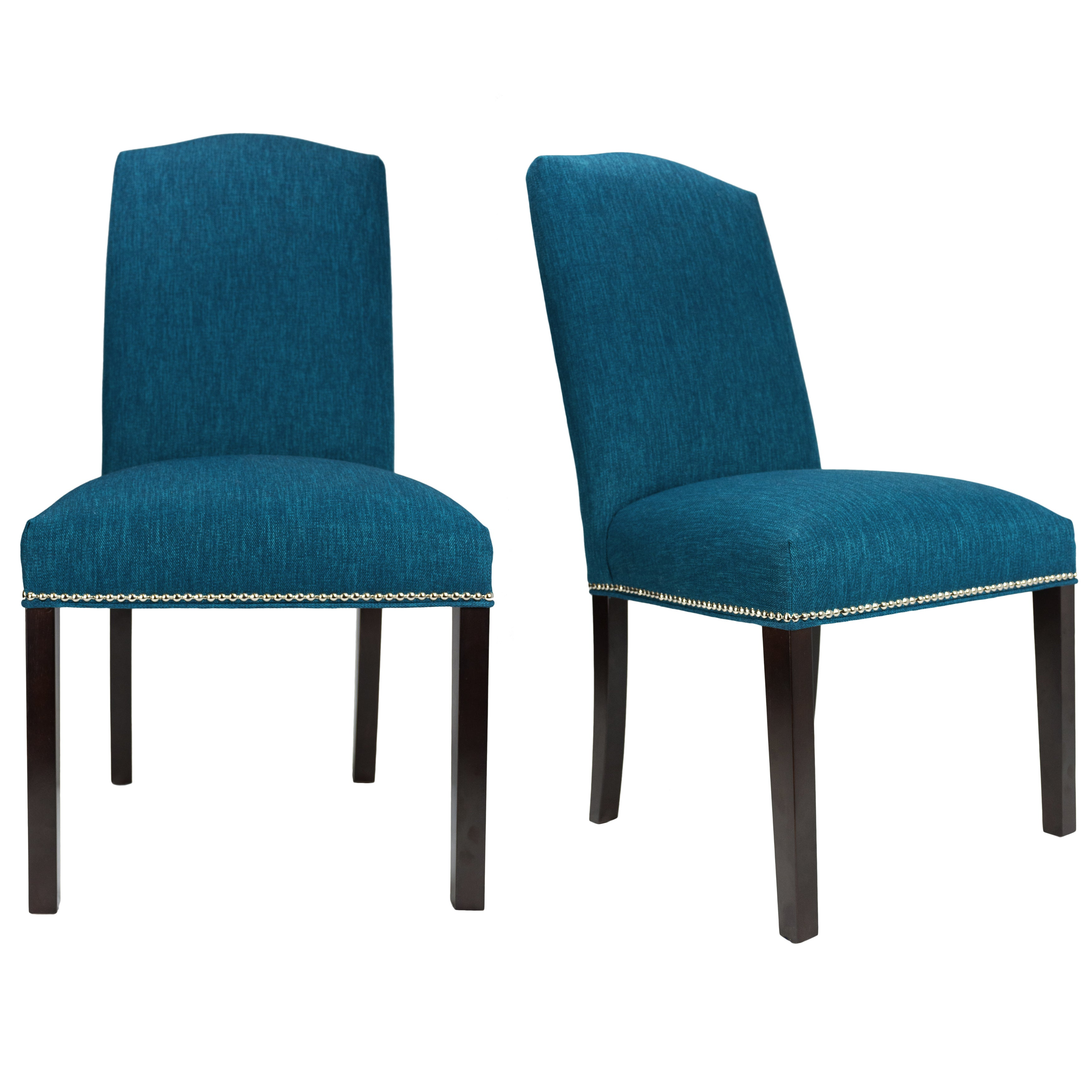Key Largo Zenith Nailhead Trim Upholstered Dining Chairs (Set of 2) (Teal - Espresso Finish - Parson Chairs)