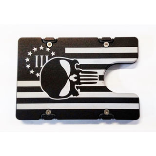 Black 3% American Flag with Punisher Aluminum Wallet/ Card Holder with RFID Protection