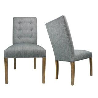 Kacey Key Largo Walnut Legs Tufted Upholstered Dining Chairs (Set of 2)