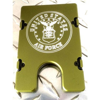 Green United States Air Force Aluminum Wallet/ Card Holder with RFID Protection