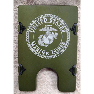 Green United States Marines Aluminum Wallet/ Card Holder with RFID Protection