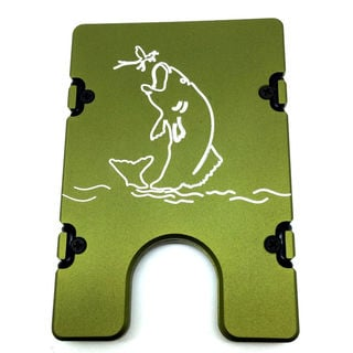 Green Large Mouth Bass Aluminum Wallet/ Card Holder with RFID Protection