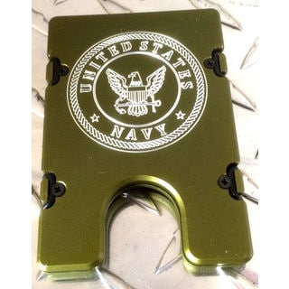 Green United States Navy Aluminum Wallet/ Card Holder with RFID Protection