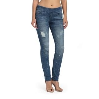 Bluberry Denim Women's Skylar Distressed Blue Denim Slim-leg Jeans