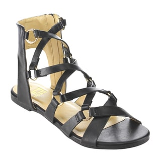 BETANI FI34 Women's Caged Criss Cross Gladiator Flat Sandals