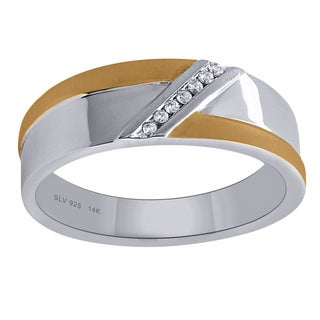 14k Yellow Gold and Sterling Silver Men's Diamond Accent Wedding Band