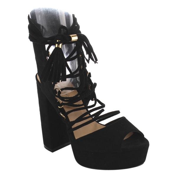 c25df5b654a Shop Via Pinky EH13 Women s Faux-suede Tassel Lace Wrap Ankle Cuff ...