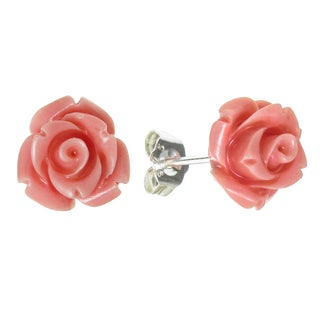 Queenberry Sterling Silver 10mm Simulated Pink Coral Rose Earring Stud Post