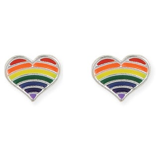 Rainbow Heart Stainless Steel Post Earring