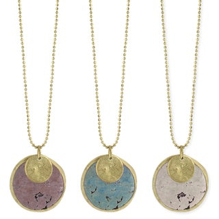 Pastel Colors Soap Stone & Gold Coin Necklace