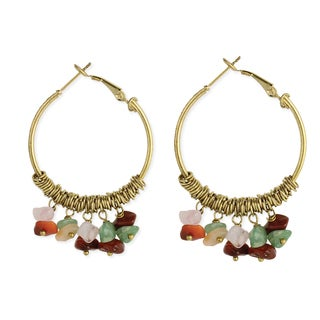 Colorful Agate Chip Drop Hoop Vintage Gold Earrings