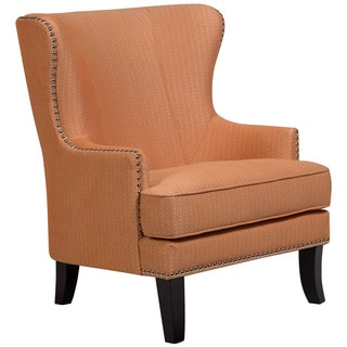 Porter Grant Orange Sunburst Wingback Accent Chair With Silver Nailhead