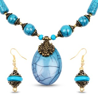 Liliana Bella Gold Plated Handmade Turquoise Beaded Necklace and Earrings Set