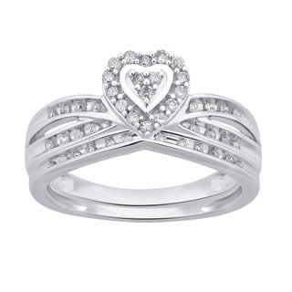 Divina 10k White Gold 1 4ct TDW White Diamond Heart Shape Bridal Set I J I2 I3